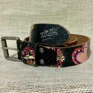 Genuine Ed Hardy Tattoo Style Leather Belt